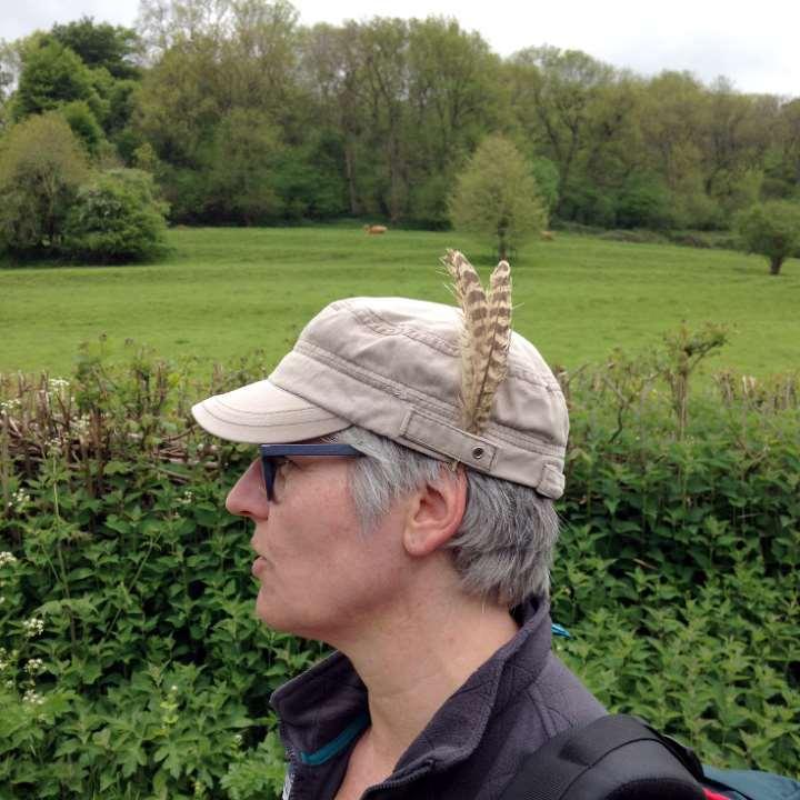 Frau im Profil mit Hut und Feder aufgesteckt. Kaltmamsell von Vorspeisenplatte