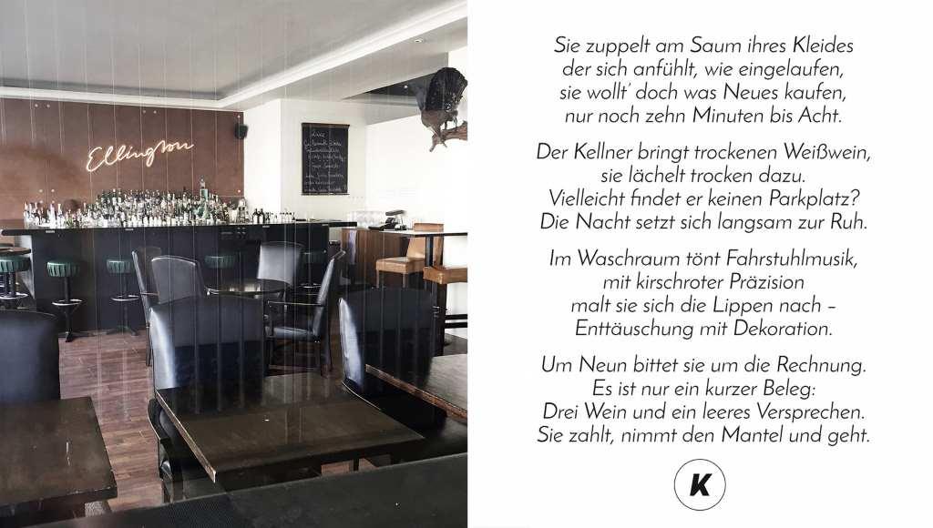 Blick in ein Café, daneben ein Gedicht über Kellner von Kea. Se findet überall ihre Poesie