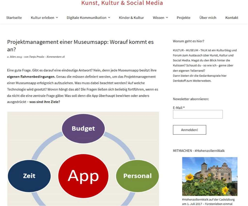 Screenshot Blog von Tanja Praske. Artikel zum Projektmanagement der Nymphenburg App. 12 von 12