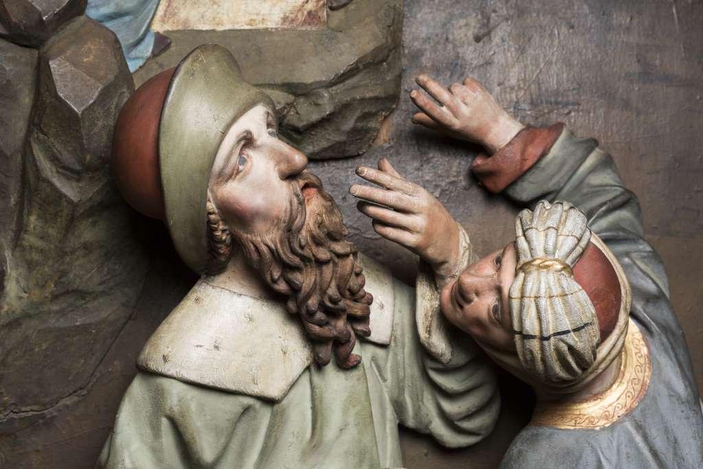 Altardetail von Erasmus Grasser. Sonderausstellung des Bayerischen Nationalmuseums in München. eine von elf Ausstellungen in München, die im Frühjahr 2018 zu sehen sind. zu