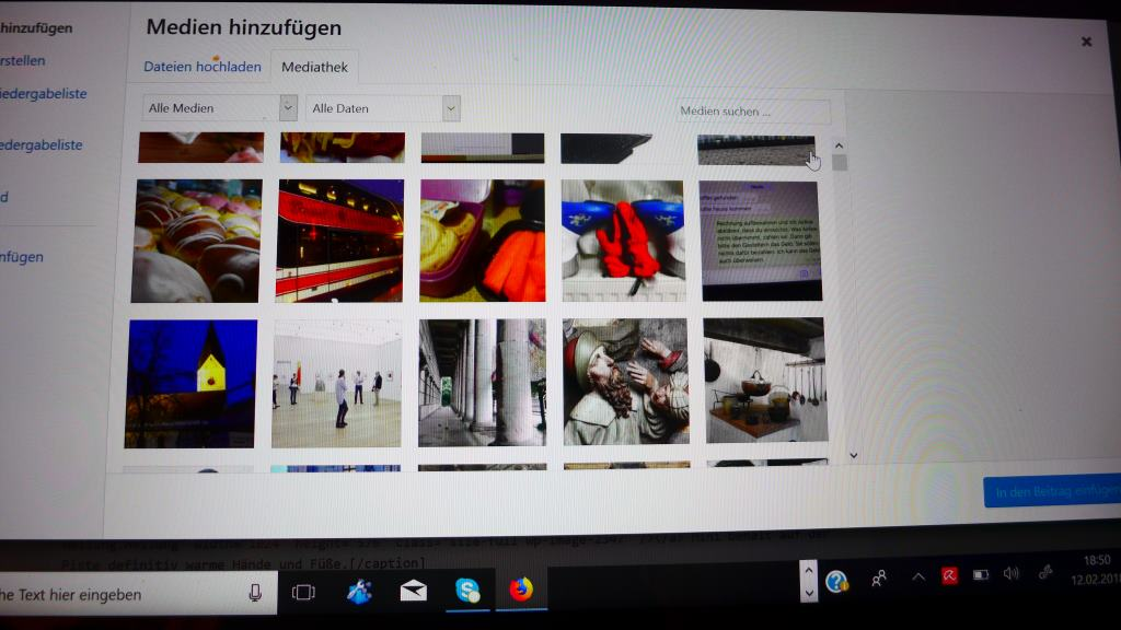Screen WordPress von der Mediathek.