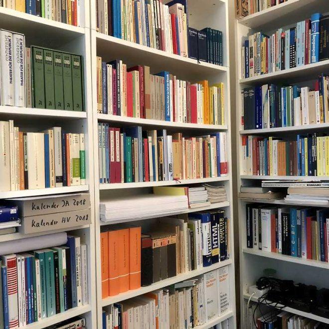 Blick auf Bücherregal