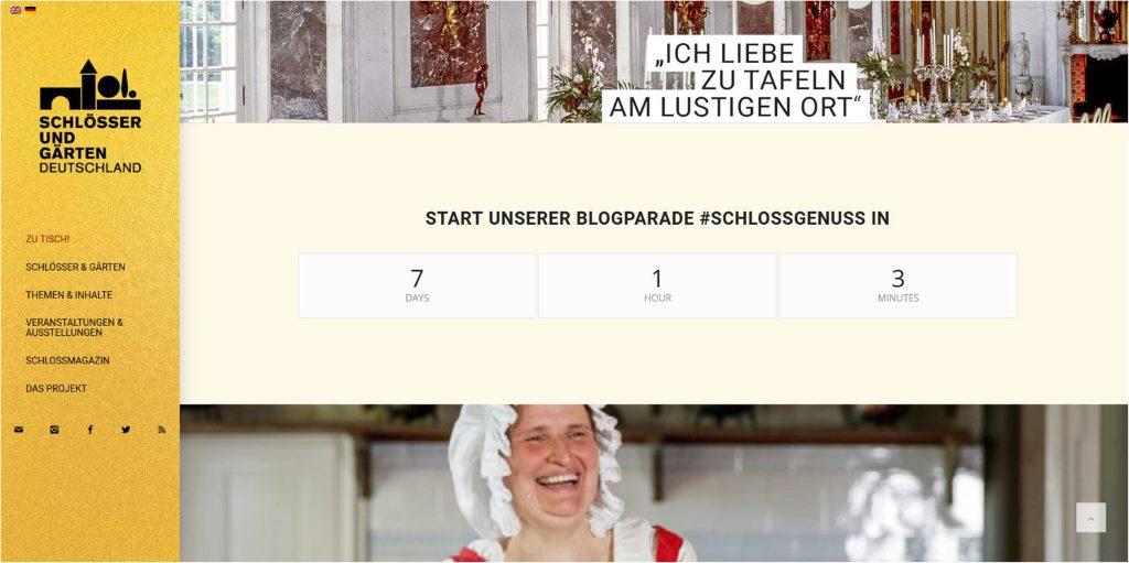 Countdown bis zur Blogparade #SchlossGenuss (Laufzeit 2.5-5.6.18) - Screenshot vom 24. April, Schlösser zu Tisch. Bloggervernetzung