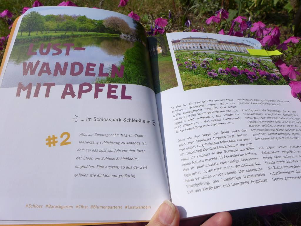 Aufgeschlagenes Buch, Eskapaden in München, Kapitel übers Lustwandeln in Schleißheim