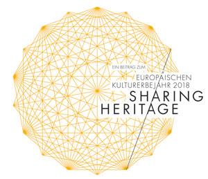 Logo von Sharing Heritage. die Blogparade #SchlossGenuss findet zum Europäischen Kulturerbejahr statt.