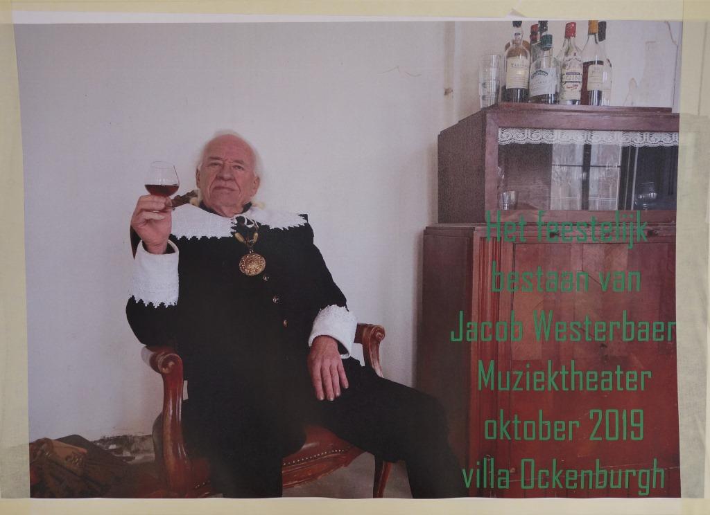 Poster, Ankündigung einer Musik- und Theateraufführung miyt Jakob Westerbaen.