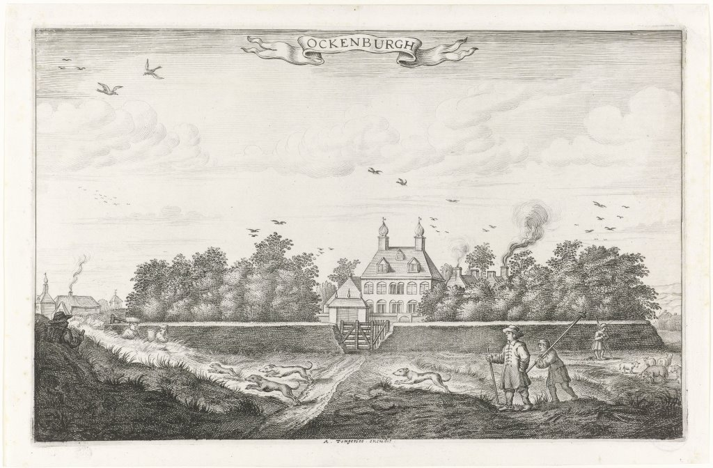 Ansicht von Ockenburgh, Grafiker Adriaen Matham, herausgegeben von Anthony Jansz. Tongerloo, 1650-1660. Bild: Rijksmuseum (Amsterdam) über Europeana; gemeinfrei
