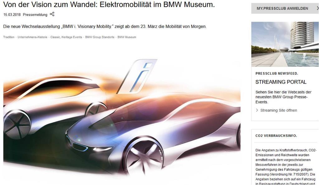 Screenshot website BMW Museum mit Ausstellung Elektromobilität im BMW Museum. Ausstellungen in München im Sommer 2018