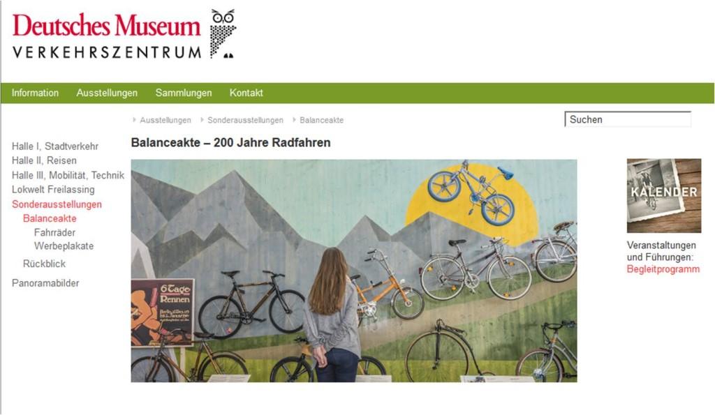 Screeshot Website Verkehrsmuseum München. Ausstellung Balanceakt. 2018