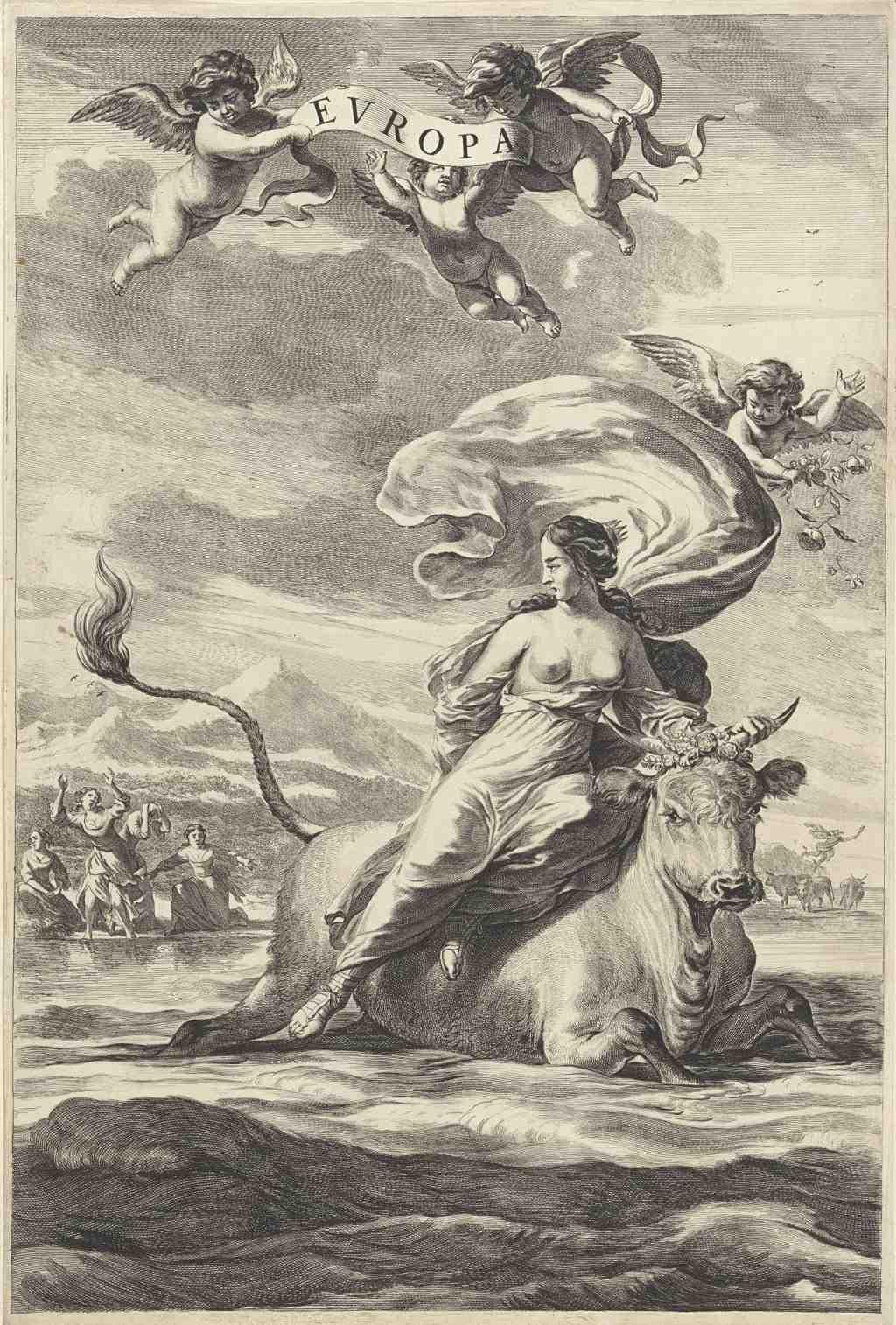 """Jan de Visscher, """"Raub der Europa"""" (nach Nicolaes Pietersz. Berchem), 1643 - 1692, Sammlung Rijksmuseum Amsterdam, Gemeinfrei"""