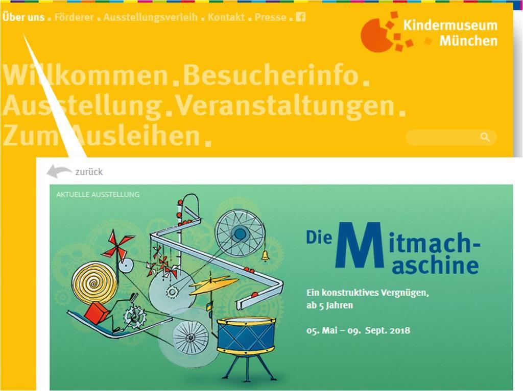 Mitmach-Maschine, Sonderausstellung im Kindermuseum München 2018. Screenshot.