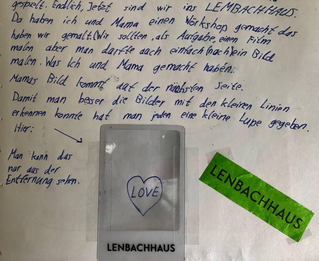 Tagebucheintrag über den Familienworkshop Weltempfänger im Lenbachhaus von Mini.