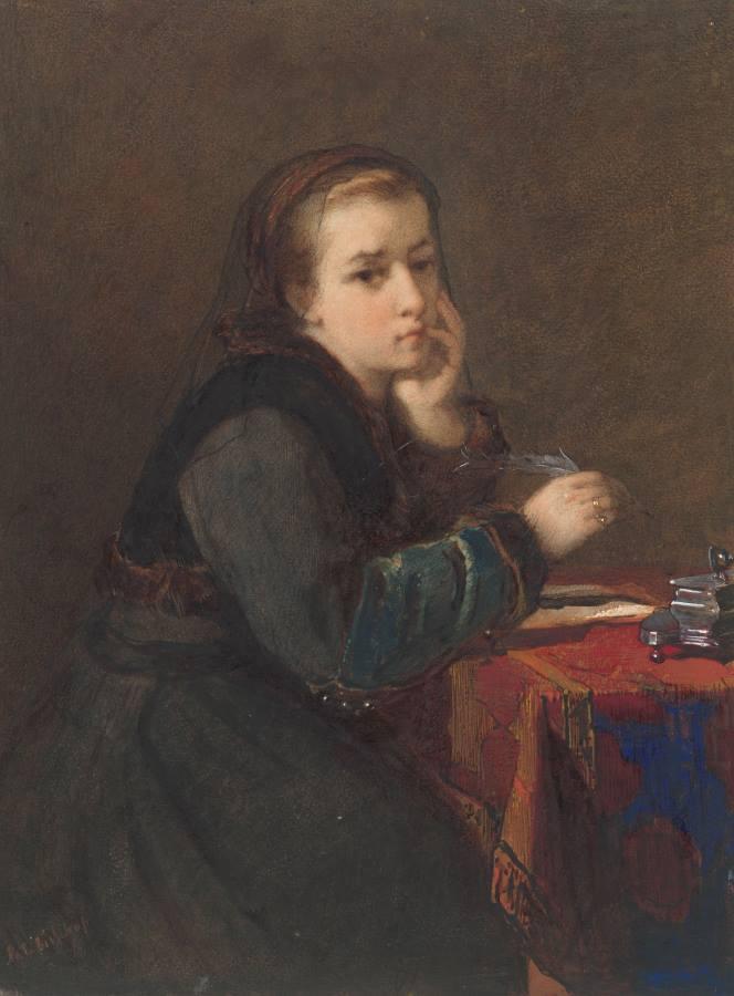 Wassermalerei, Mädchen sinniert und schreibt, stützt Arme auf Tisch auf, schaut direkt zum Betrachter. gemalt von Kate Bischop-Swift. Rijsksmuseum