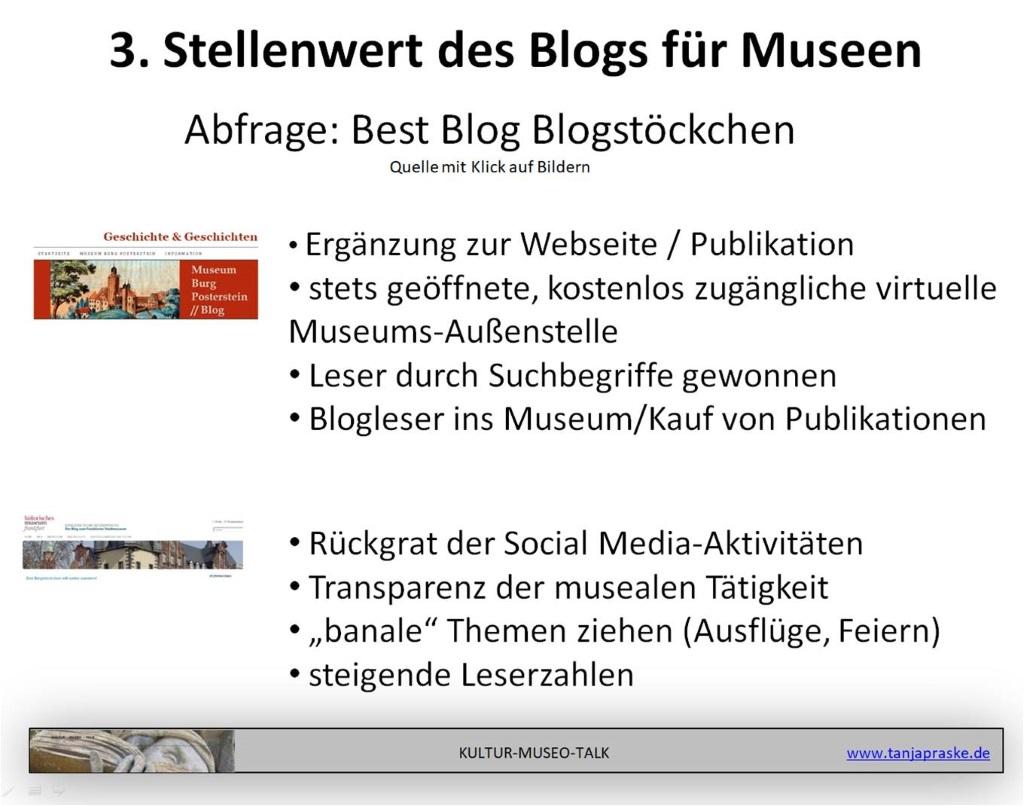 Screenshot einer Folie mit Stimmen von Museen, warum sie bloggen. Zusammengetragen für die Gründe, warum ein Museum bloggen sollte