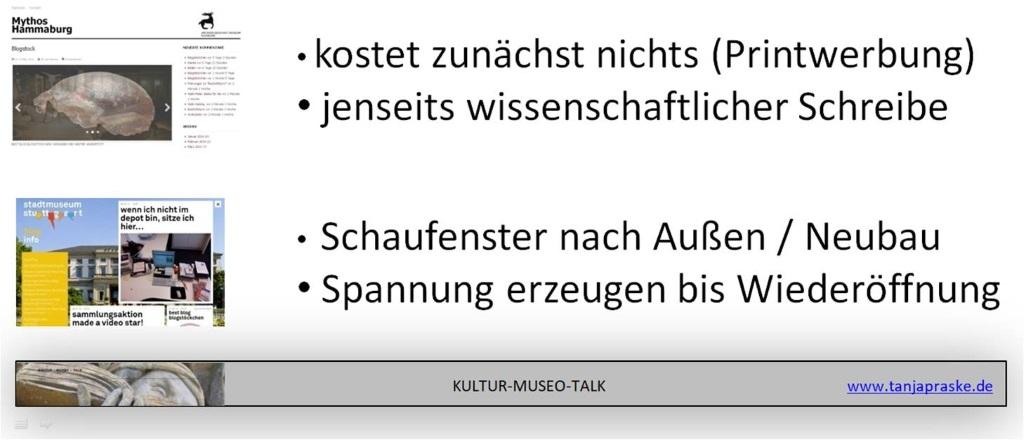 Aussagen zum Stadtmuseum Stuttgart und vom Archäologischen Museum Hamburg, warum sie bloggen.