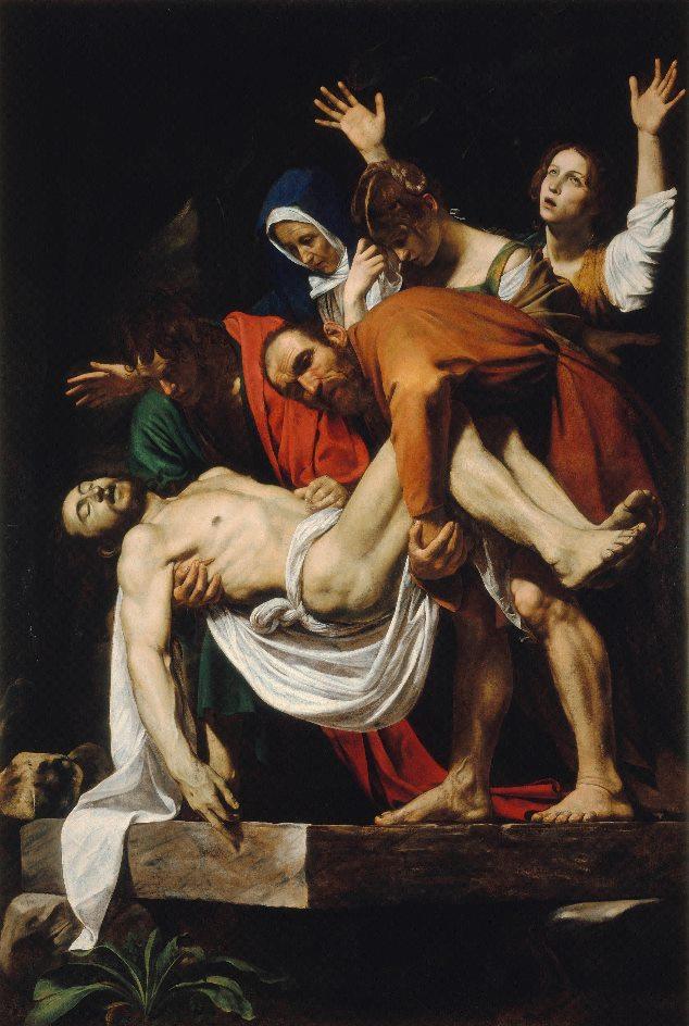 Ausstellungen in München. Michelangelo Merisi, gen. Caravaggio (1571 - 1610), Die Grablegung Christi, 1602/03 Leinwand, 300 × 203 cm © Vatikanstadt, Musei Vaticani, Pinacoteca Vaticana