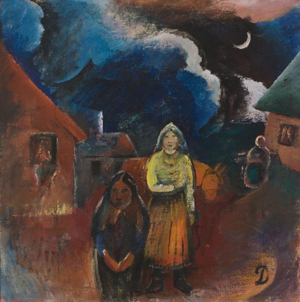 """Migration in der Kunst: """"Litauische Dorfszenerie"""" (1918) von Franz Domscheit / Pranas Domšaitis, Öl (65 x 65 cm). Litauische Nationalgalerie CC BY 4.0, über Europeana"""
