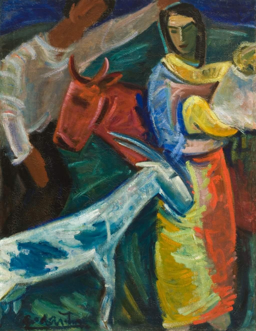 """Migration in der Kunst: """"Die neuen Siedler"""" (1933) von Antanas Gudaitis, Öl (113 x 88 cm). Litauische Nationalgalerie CC BY 4.0, über Europeana"""