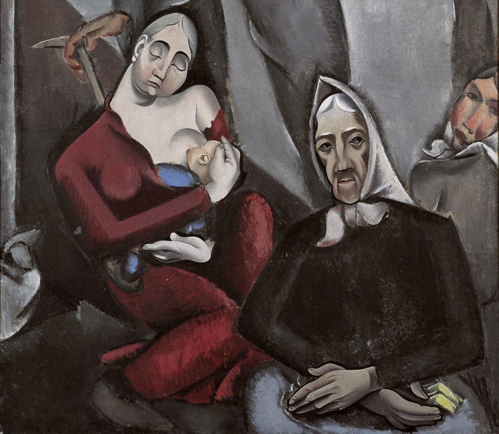 """Migration in der Kunst: """"Flüchtlinge"""" von Jēkabs Kazaks, 1917 - Detail, Sammlung Lettisches Nationales Kunstmuseum in Riga. Gemeinfrei, via Europeana."""