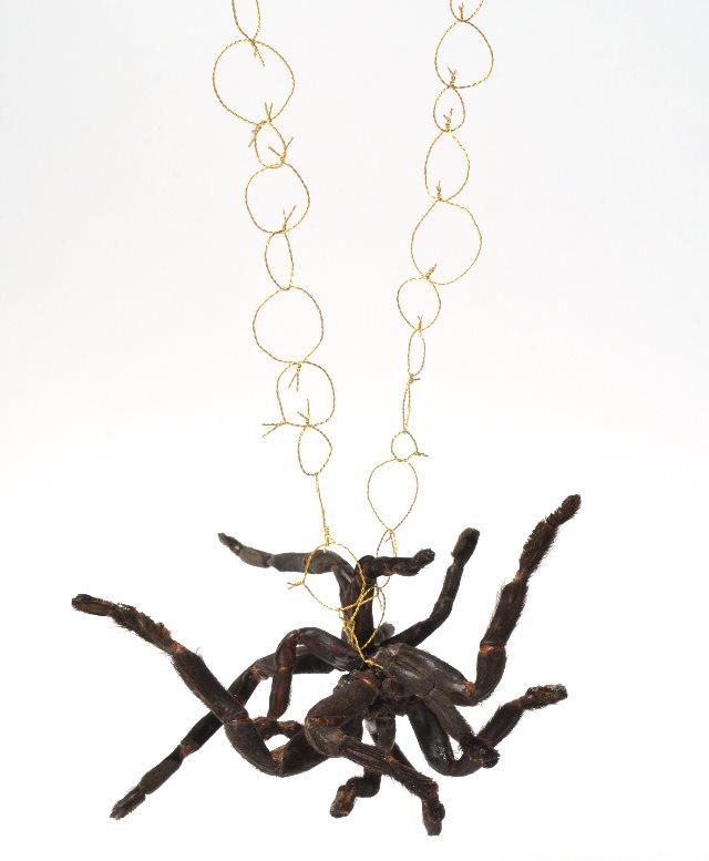 Ausstellung Schmuckismus mit einer Spinnenkette von Nicola Scholz. Halsschmuck, 2010. Foto: Mirei Takeuchi