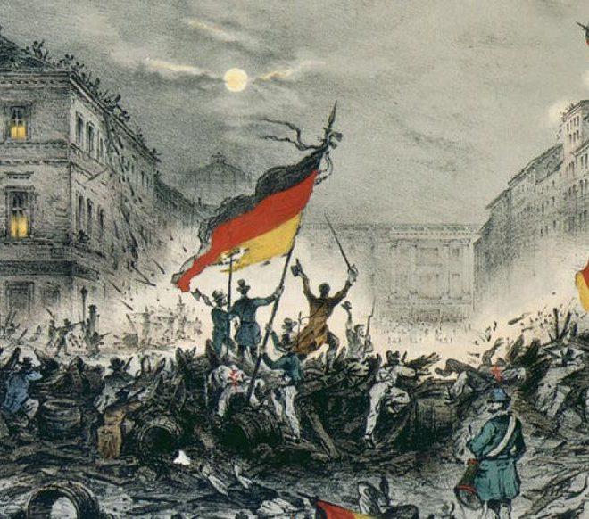 Graphik von der Märzrevolution Berlin 1848. Menschenmasse, deutsche Flagge erhoben. Steht sinnbildlich für Demokratie und ist Titelbild des Beitrags von Barbara Fischer zur Blogparade #DHMDemokratie - Digitaler Wandel