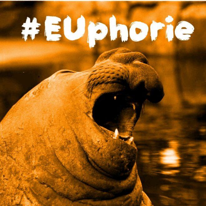 """Seelöwe mit Hashtag Wo bleibt die EUphorie? (Foto: Willy Pragher aus dem LaBW) von der Website """"Wie geht's dir, Europa? Coding da Vinci Süd Team Europa"""