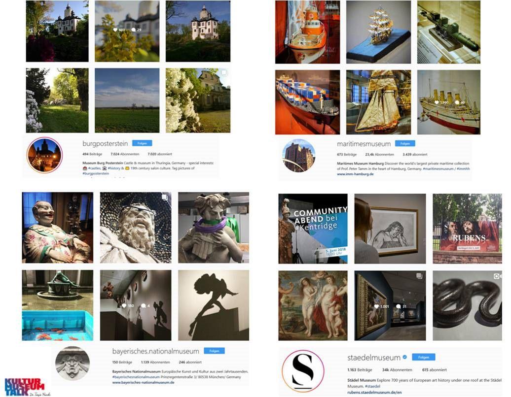 Eine Folie zur Bildsprache auf Instagram von Museen. Kleinen und großen aus meinem Workshop-Archiv 2018 genommen. Burg Posterstein, Maritimesmuseum, Bayerisches Nationalmuseum und Städelmuseum - spannende Unterschiede und Voraussetzungen der Häuser, zu denen es viel zu sagen gibt.