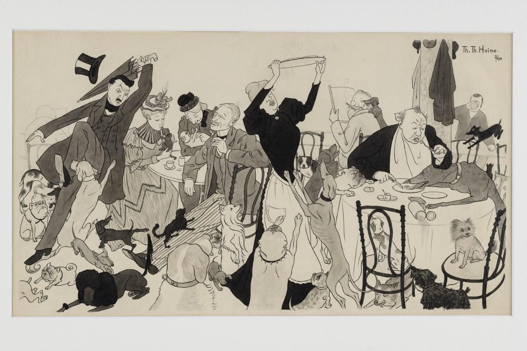 """Hundeinvasion im Café Luitpold, Thomas Theodor Heine, München, 1894. Tusche und Aquarell auf Zeichenpapier. © Dr. Paul und Diana Tauchner, München. Gezeigt in der Ausstellung """"Treue Freunde"""", Bayerisches Nationalmuseum."""