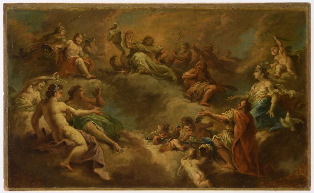 Gemälde (Skizze) von Die Aufnahme des Aeneas in den Olymp. Studioausstellung im Bayerischen Nationalmuseum ab Frühjahr 2020