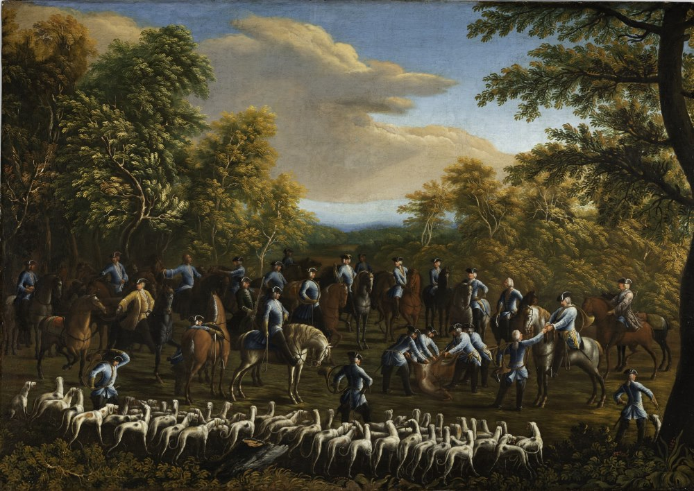 Jagdgesellschaft: Curée einer Parforcejagd unter Kurfürst Max III. Joseph von Bayern, Deutsches Jagd- und Fischereimuseum.