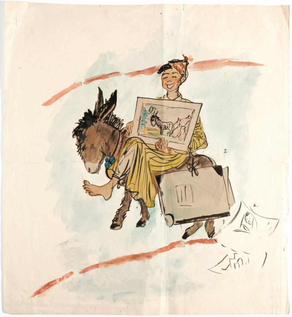 """Bild """"Von der Isar nach Jerusalem"""" – Watercolors, 1958 JPG: Bild """"Von der Isar nach Jerusalem"""" – Gabriella Rosenthal (1913-1975) – Zeichnungen: Watercolors, 1958 © privat"""