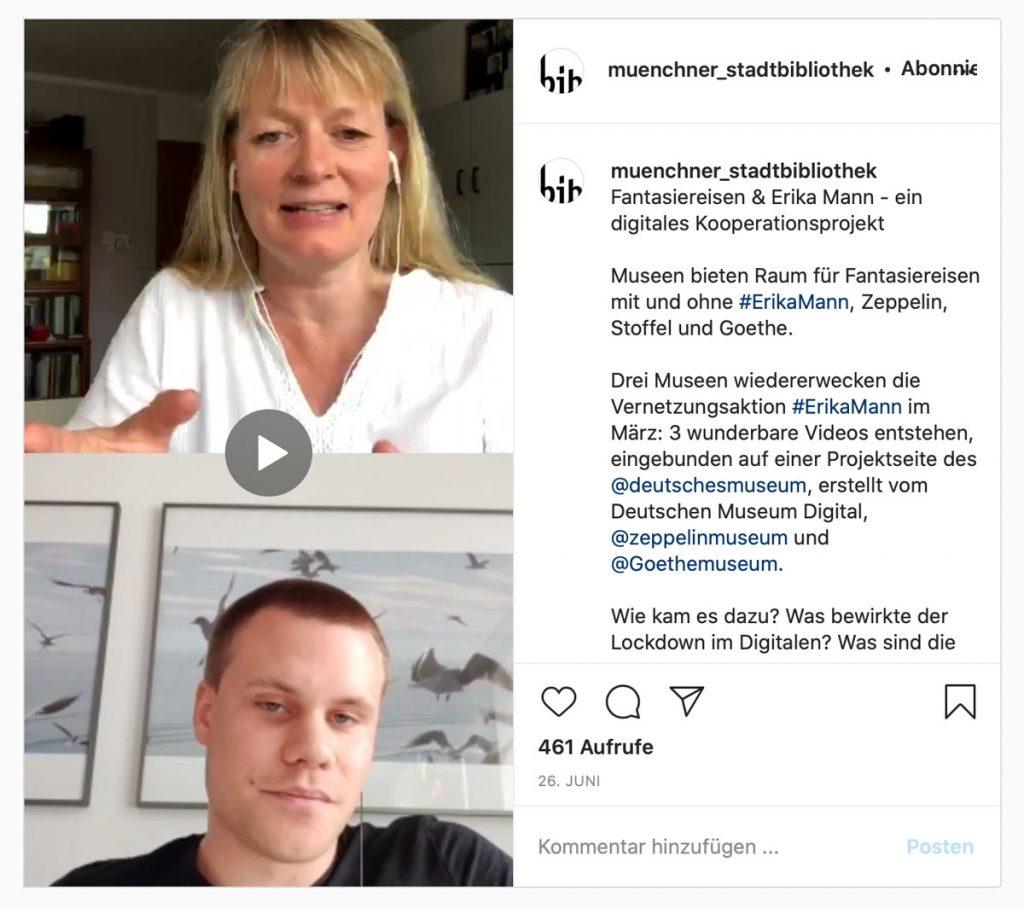 Fantasiereisen und Erika Mann - ein Instagram-Gepräch mit Yannik Scheurer vom Zeppelin Museum und Damian Mallepree vom Goethemuseum