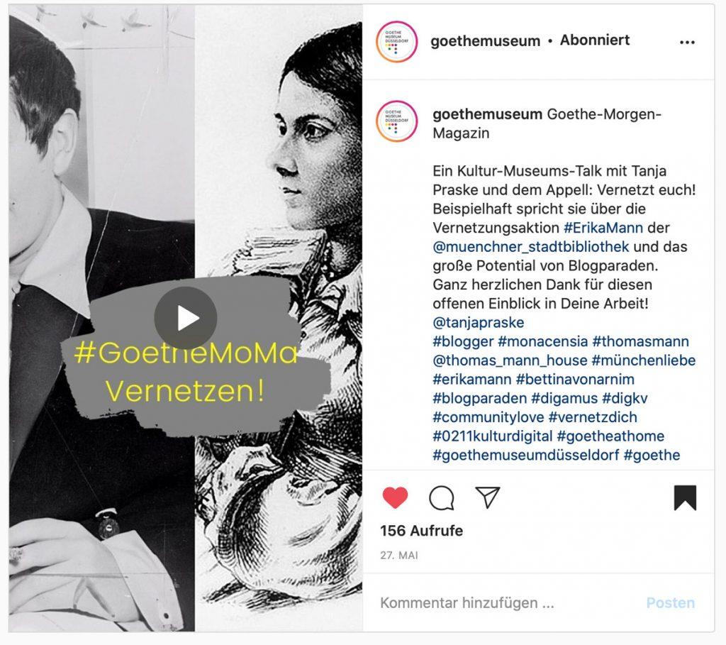 Was brachte die Vernetzungsaktion #ErikaMann im März 2020? Ein Gespräch mit Damian Mallepree über vernetzen fürs #GoetheMoMa - Museumswelt und Kooperationen