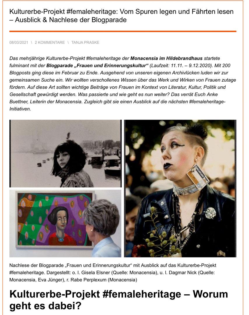 Kulturerbeprojekt #femaleheritage | Monacensia